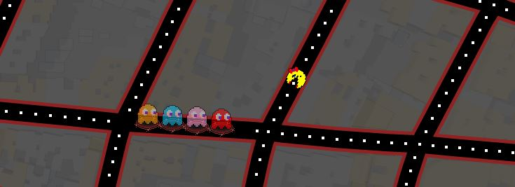 Google Maps Ms. Pac-man takes me back in time (while wasting some).